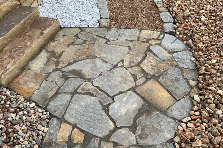 Blue gray flagstone patio