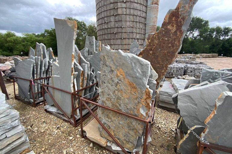 Blue gray flagstone slabs